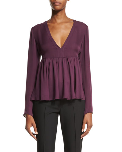 Araceli Long-Sleeve Peplum Top, Plum