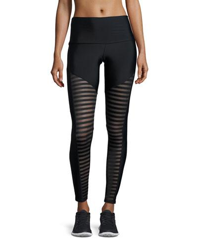 Fierce Mesh-Stripe Leggings, Black