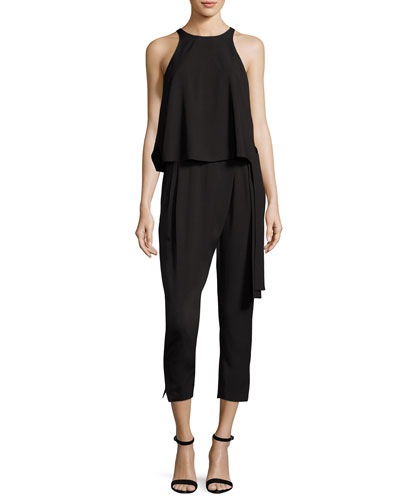 Sleeveless High-Neck Flounce Jumpsuit w/ Sash, Black