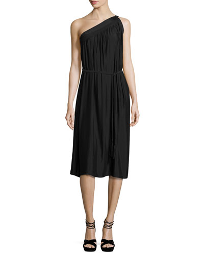 Rania One-Shoulder Belted Midi Dress, Black