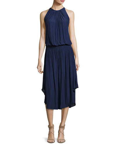 Audrey Sleeveless Blouson Midi Dress, Navy