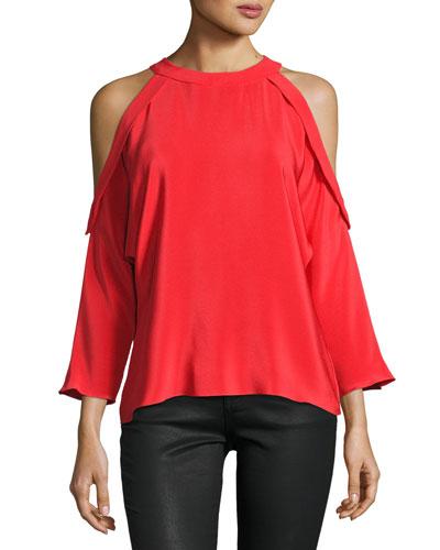 Vivica Silk Crepe Cold-Shoulder Top, Spring Red