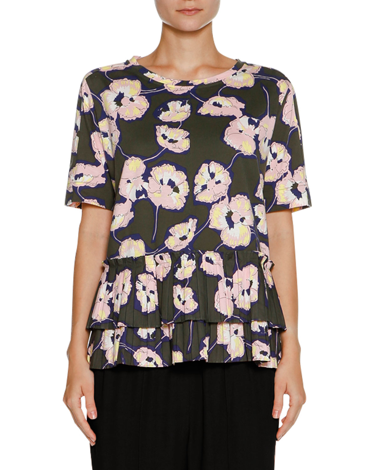 Ruffled Short-Sleeve Floral-Print Top, Green