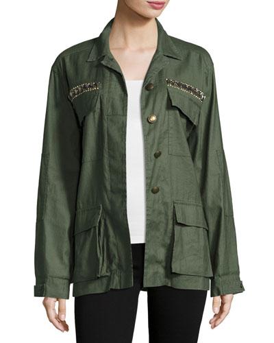 James Embellished Utility Shirt Jacket, Sage