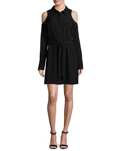 Monica Cold-Shoulder Shirtdress, Black