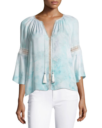 Lucile 3/4-Sleeve Tassel-Neck Silk Blouse, Light Blue