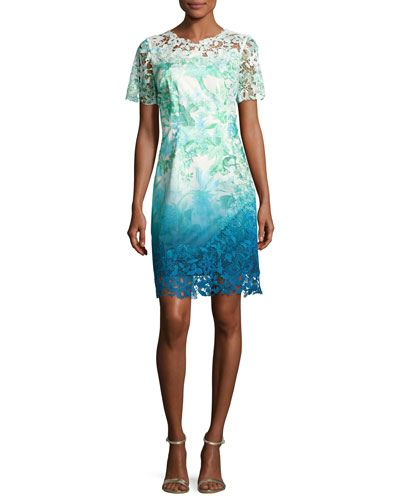 Short-Sleeve Lace-Trim Ombre Organdy Dress, Green Pattern
