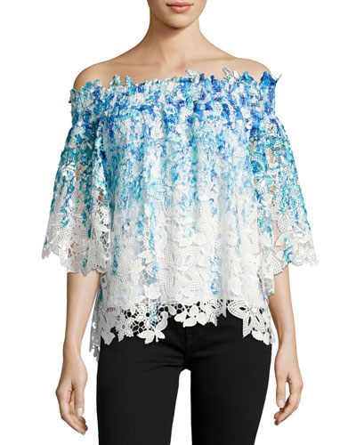 Diana Off-the-Shoulder Ombre Lace Blouse, Blue