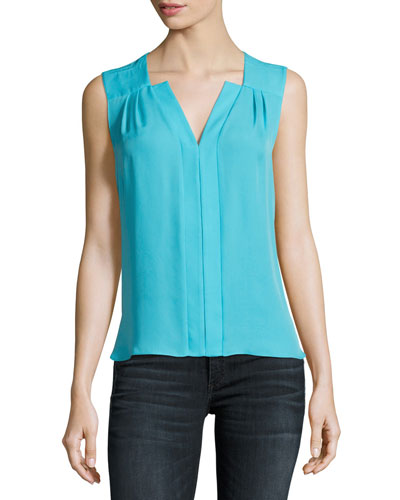 Sheyda Silk Split-Neck Blouse, Bright Blue