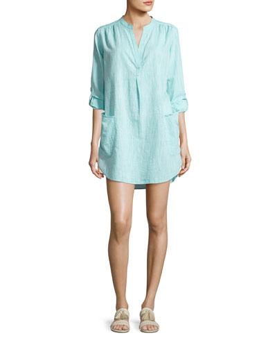 Boyfriend Beach Shirt, Blue