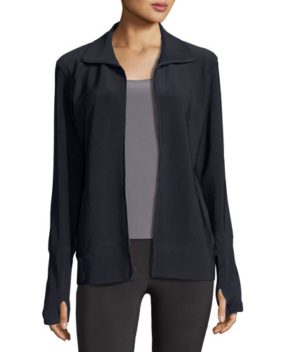 Bonded Jersey Zip-Front Turtle Jacket, Dark Navy