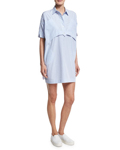 Short-Sleeve Striped Poplin Shirtdress, Light Blue