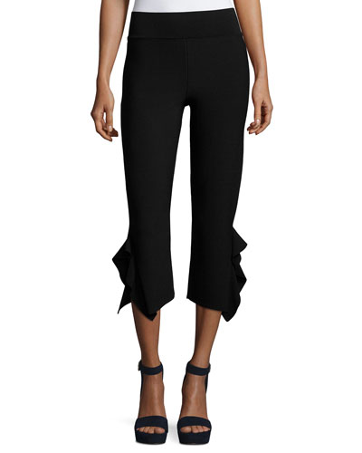 Ruffle-Trim Cropped Ponte Pants, Black