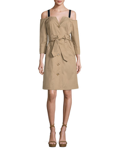Twill Cold-Shoulder Trench Dress, Khaki