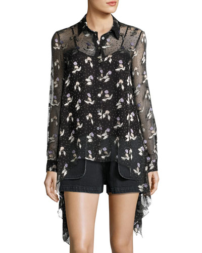 Gestures Long-Sleeve Floral Burnout Top, Black