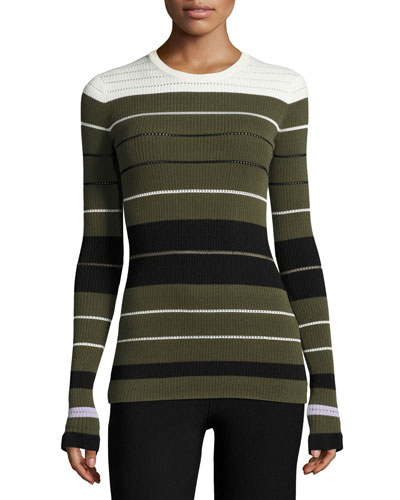 Striped Ribbed Crewneck Pullover Sweater, Olive