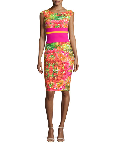 Sumatra Cap-Sleeve Floral Sheath Dress, Barth