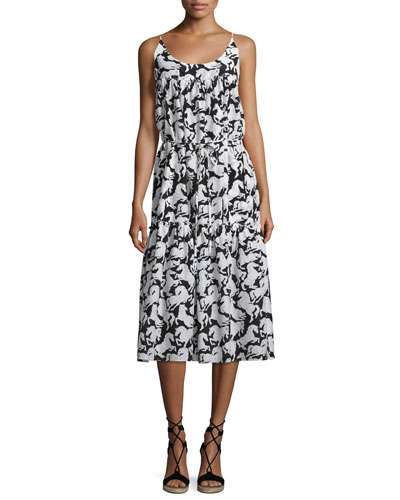 Iconic Horse-Print Sleeveless Midi Dress, Black