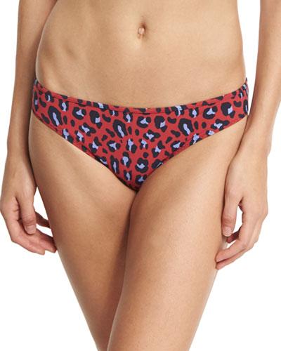 Leopard-Print Classic Bikini Swim Bottom, Red