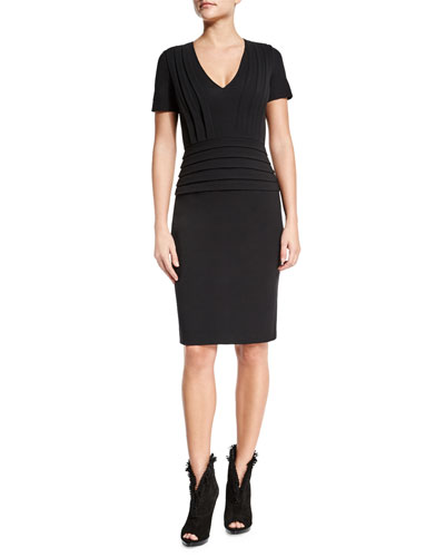 Short-Sleeve Pleated Sheath Dress, Black