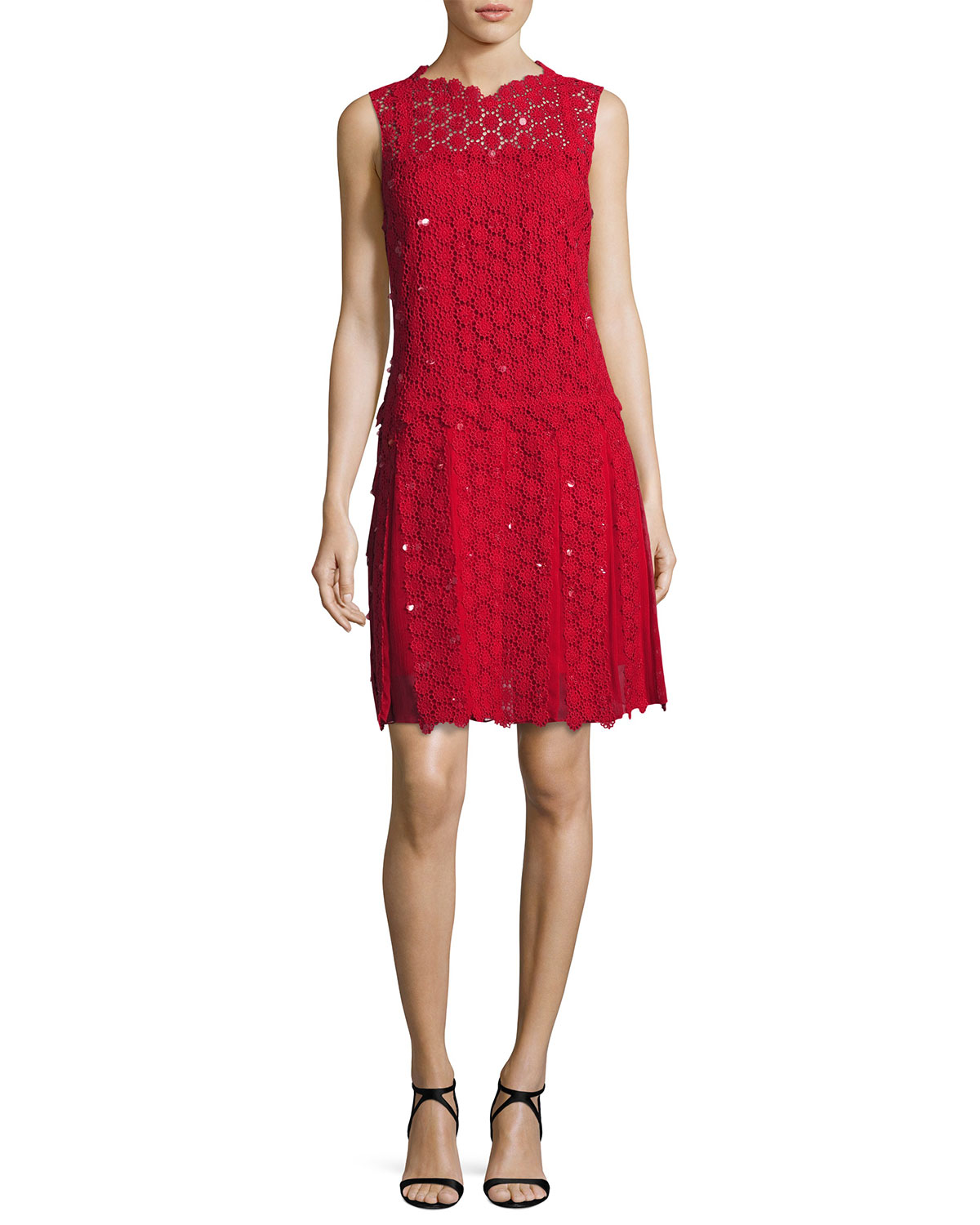 Bella Sleeveless Pleated Crocheted Dress, Red