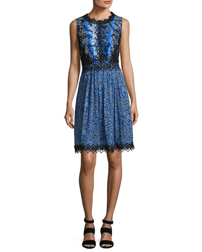 Audriana Sleeveless Lace-Trim Printed Dress, Dark Blue