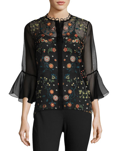 Rienna Bell-Sleeve Embroidered Sheer Blouse, Black