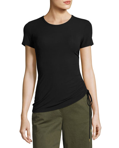 Jilaena T Ruched-Side Ribbed T-Shirt, Black