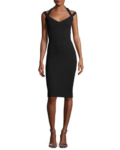 Quirine Sleeveless Jersey Cocktail Dress, Black