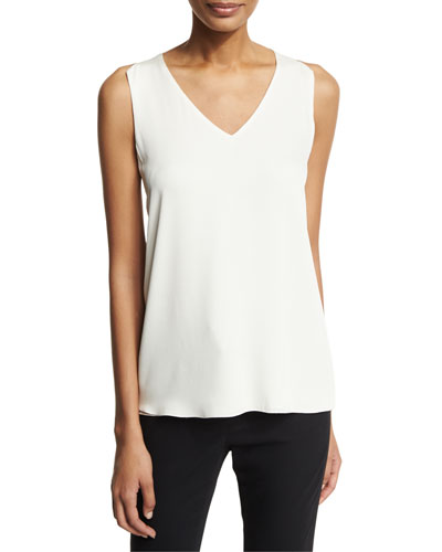 Sleeveless V-Neck Blouse w/ Sheer Inserts, White
