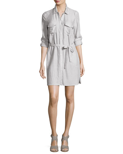 Willa B Striped Belted Shirtdress, White