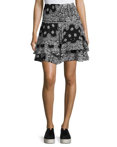 Vera Silk High-Waist Bandana Skirt, Black/White