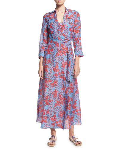 Floral-Print Voile Maxi Wrap Dress, Blue/Red