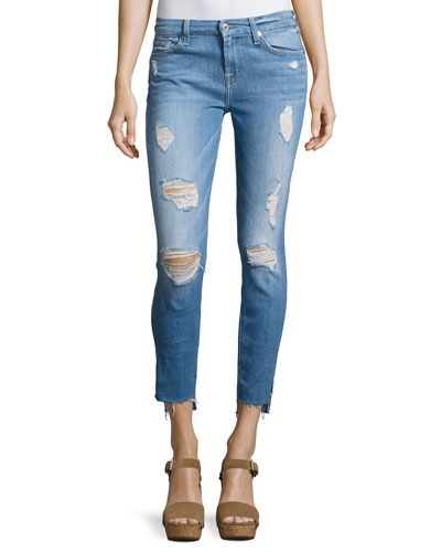 Distressed Ankle Skinny Jeans with Step Hem, Indigo