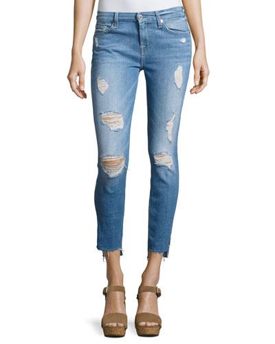 Distressed Ankle Skinny Jeans with Step Hem, Indigo