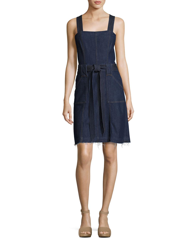 Sleeveless Belted Denim Dress, Indigo