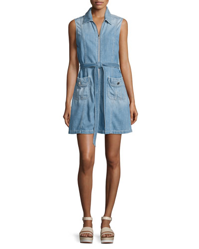 Belted Zip-Front Denim Dress, Indigo