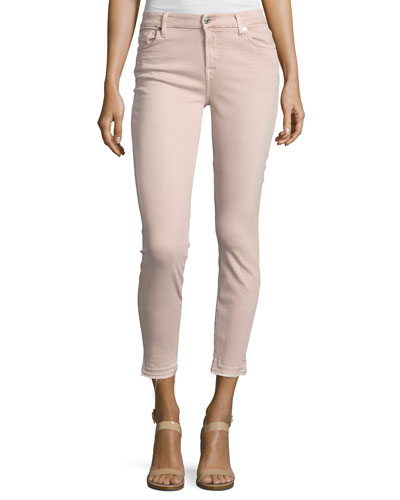 The Ankle Skinny Jeans with Released Hem, Pink