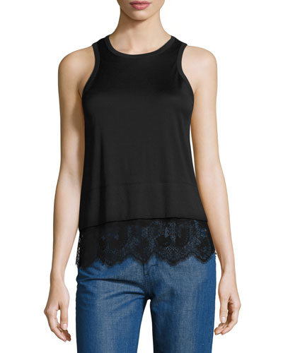 Lace-Trim Jersey Tank, Black