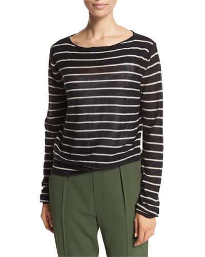 Striped Cashmere Boat-Neck Sweater