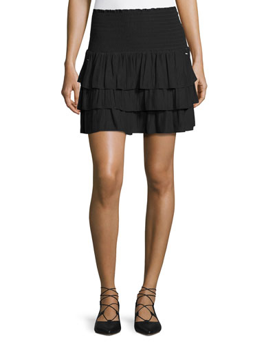 Alison Smocked-Waist Tiered Mini Skirt, Black