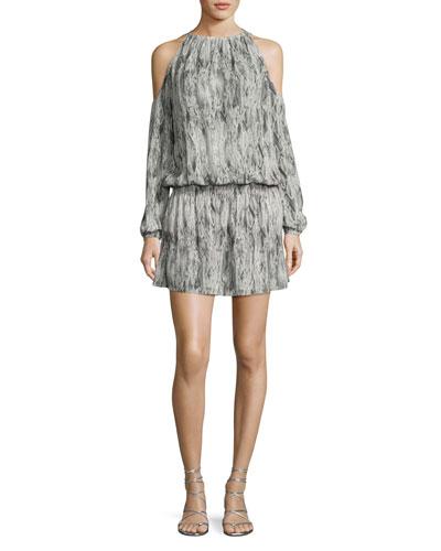Lauren Snakeskin Cold-Shoulder Blouson Dress, Gunmetal