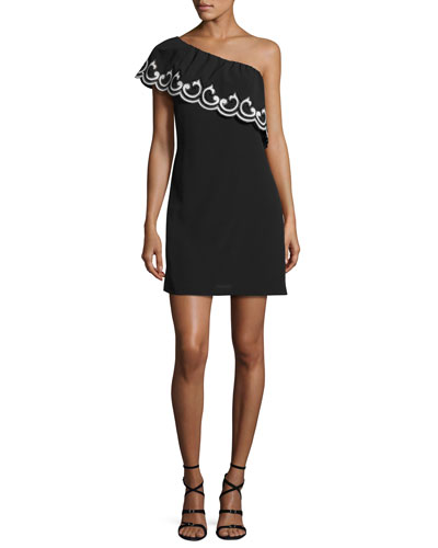 Darla Lace-Trim One-Shoulder Mini Dress, Black/Ivory