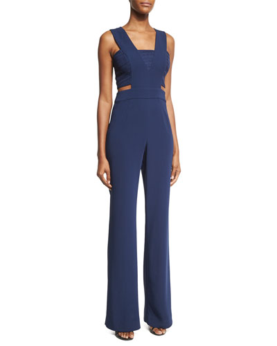 Amanda Sleeveless Crepe Jumpsuit, Navy
