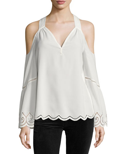 Drew Cold-Shoulder Lace-Trim Top, Ivory