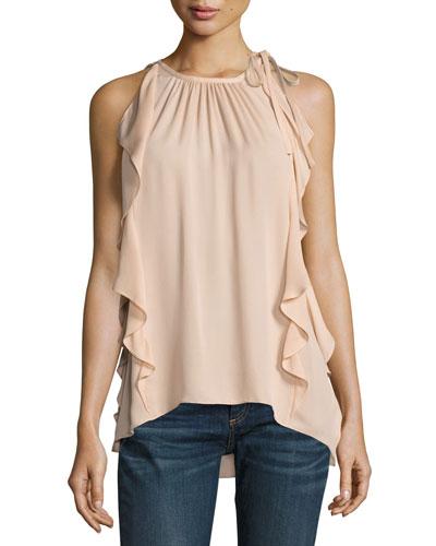Tiera Tie-Shoulder Silk Ruffle Top, Blush