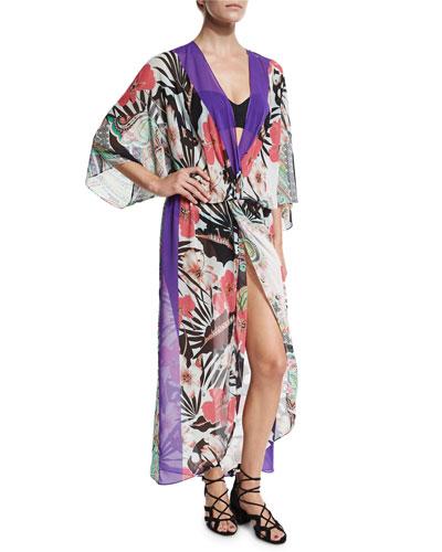 Floral-Print Chiffon Beach Kimono, Multicolor