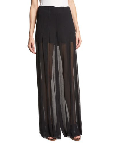 Pleated Silk Voile Wide-Leg Pants, Black