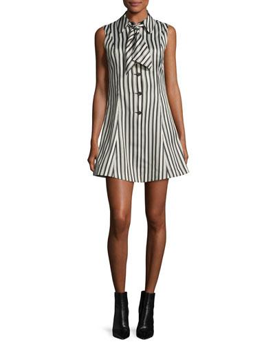 Sleeveless Striped Satin Fit-and-Flare Mini Dress, Black/White