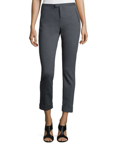 Ponte Slim Cuffed Ankle Pants